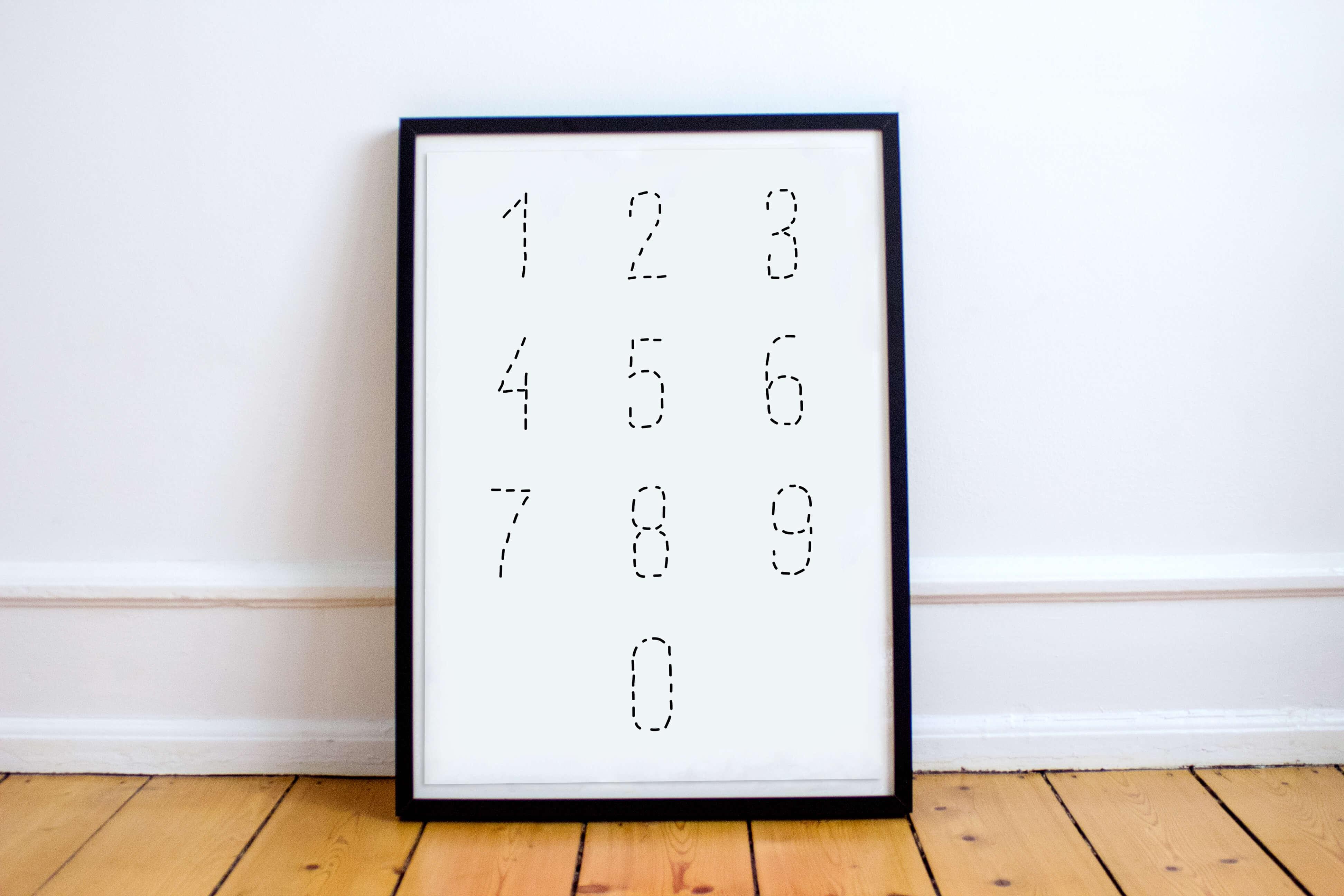 Druckvorlage Ausmalbild Zahlen von 0-9