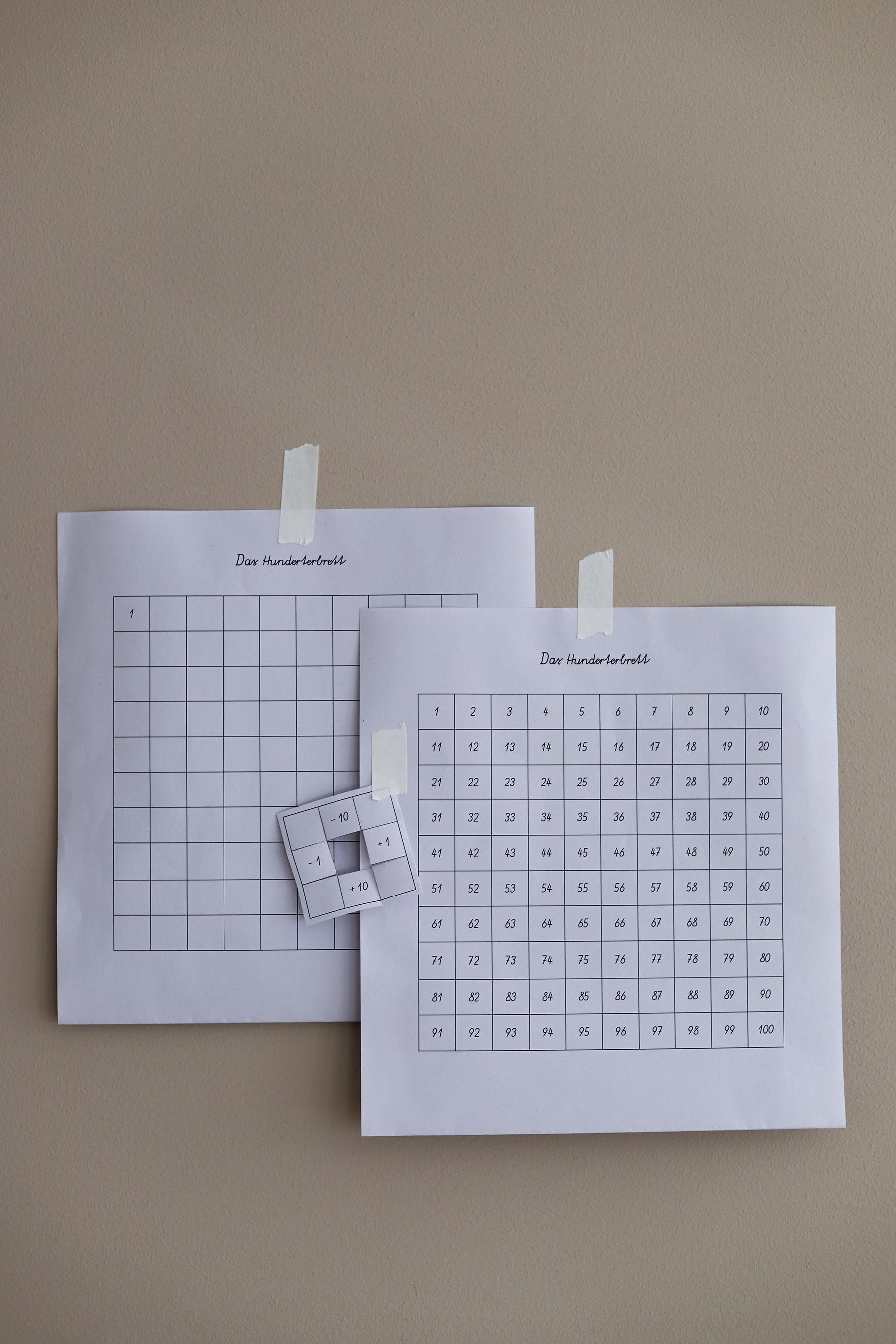 Montessori Material Ausdrucken Hunderterbrett Geniale