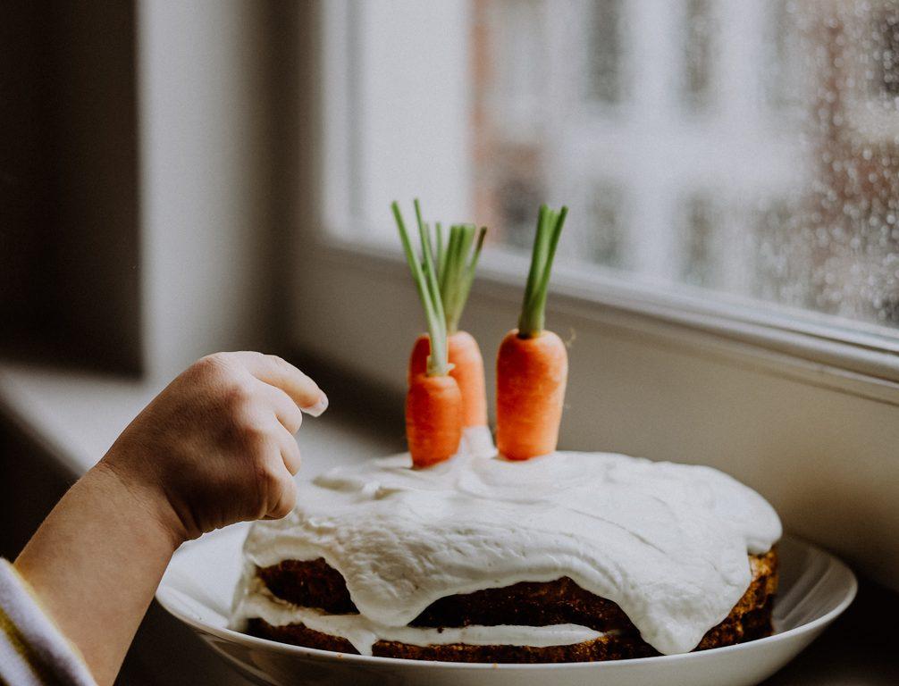 Karottenkuchen mit Frischkäsecreme Frühling in der Küche